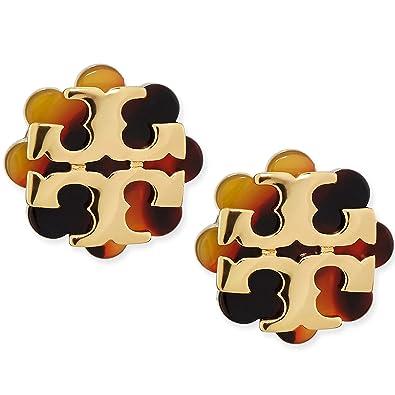 42f457d41 Amazon.com: Tory Burch Logo Flower Resin Stud Earring - Tortoise/Gold …:  Jewelry