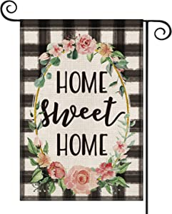 AVOIN Watercolor Buffalo Check Plaid Garden Flag Vertical Double Sided, Flower Wreath Home Sweet Home Rustic Farmhouse Flag Yard Outdoor Decoration 12.5 x 18 Inch