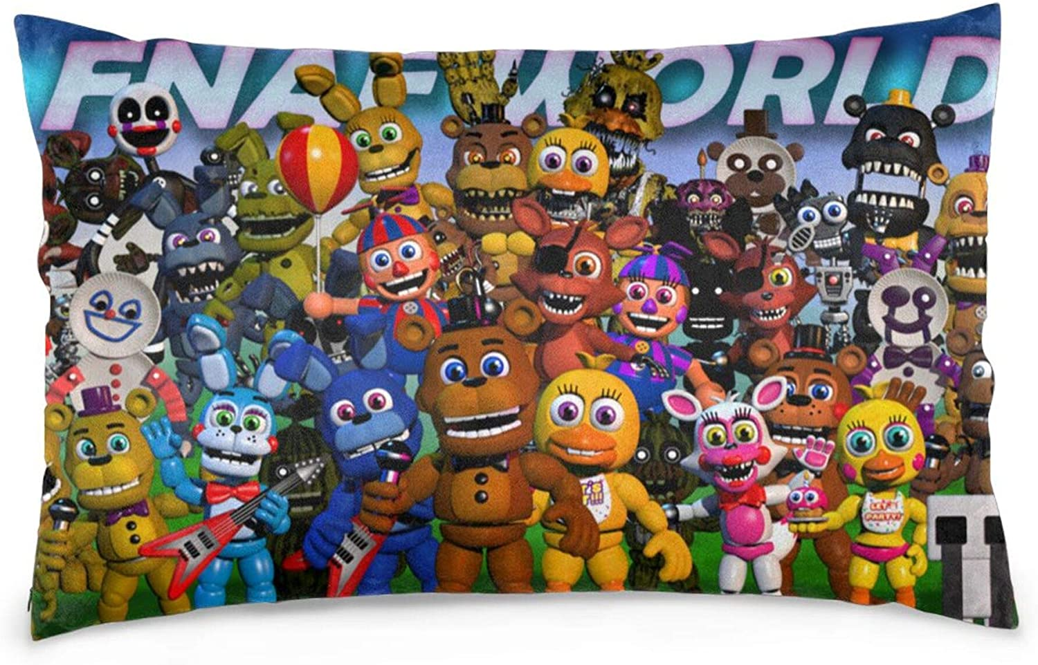 ZEHJMVO FNAF Five Nights at Freddy's Pillowcase Cushion Cover 20x30 Inch, Bear Decorative Bed Pillow Case Zippered Throw Pillow Cover Both Sides Printed Soft Twin Sides Pillowslip (FNAF World)
