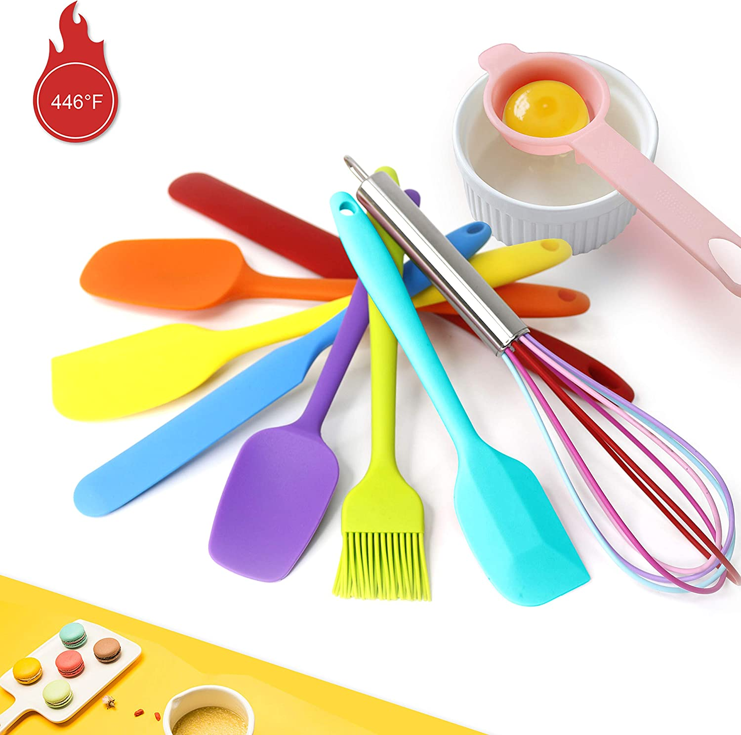 9 Piece Silicone Spatula Set - 446°F Heat Resistant Rubber Spatula .Kitchen Spatulas.Plastic Spatula. for Cooking, Baking, Mixing. Nonstick Cookware friendly. BPA-Free, Dishwasher Safe (Mixed Colors): Kitchen & Dining
