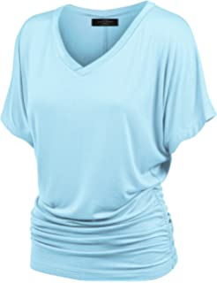 4a5fbaefce5574 Made By Johnny Women s Solid Short Sleeve Boat Neck V Neck Dolman Top with  Side Shirring