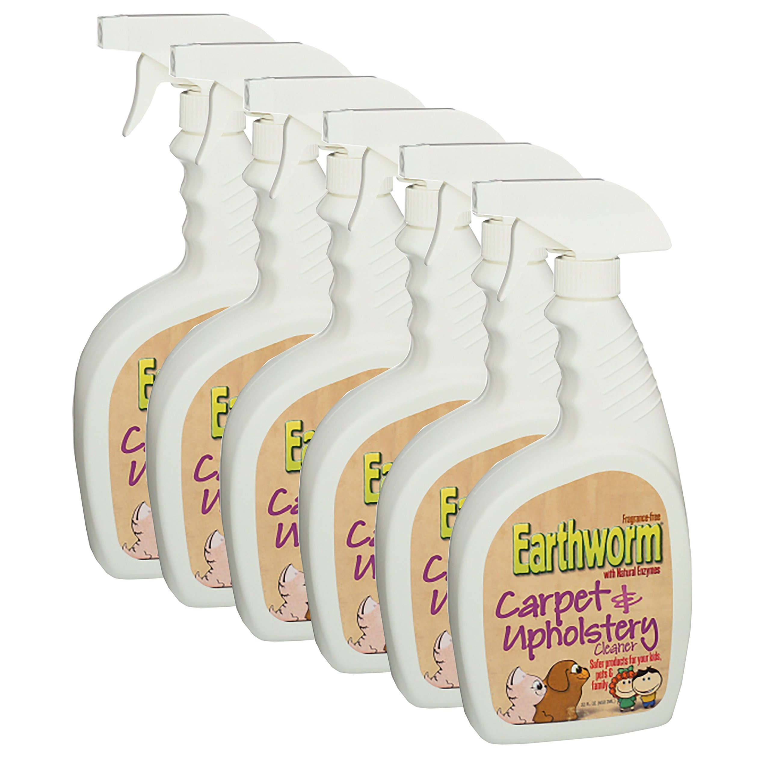 Earthworm Carpet & Upholstery Cleaner Spot & Stain Remover - Natural Enzymes, Safer for Family, Environmentally Responsible - 22 oz (Pack of Six (6)) by Earthworm