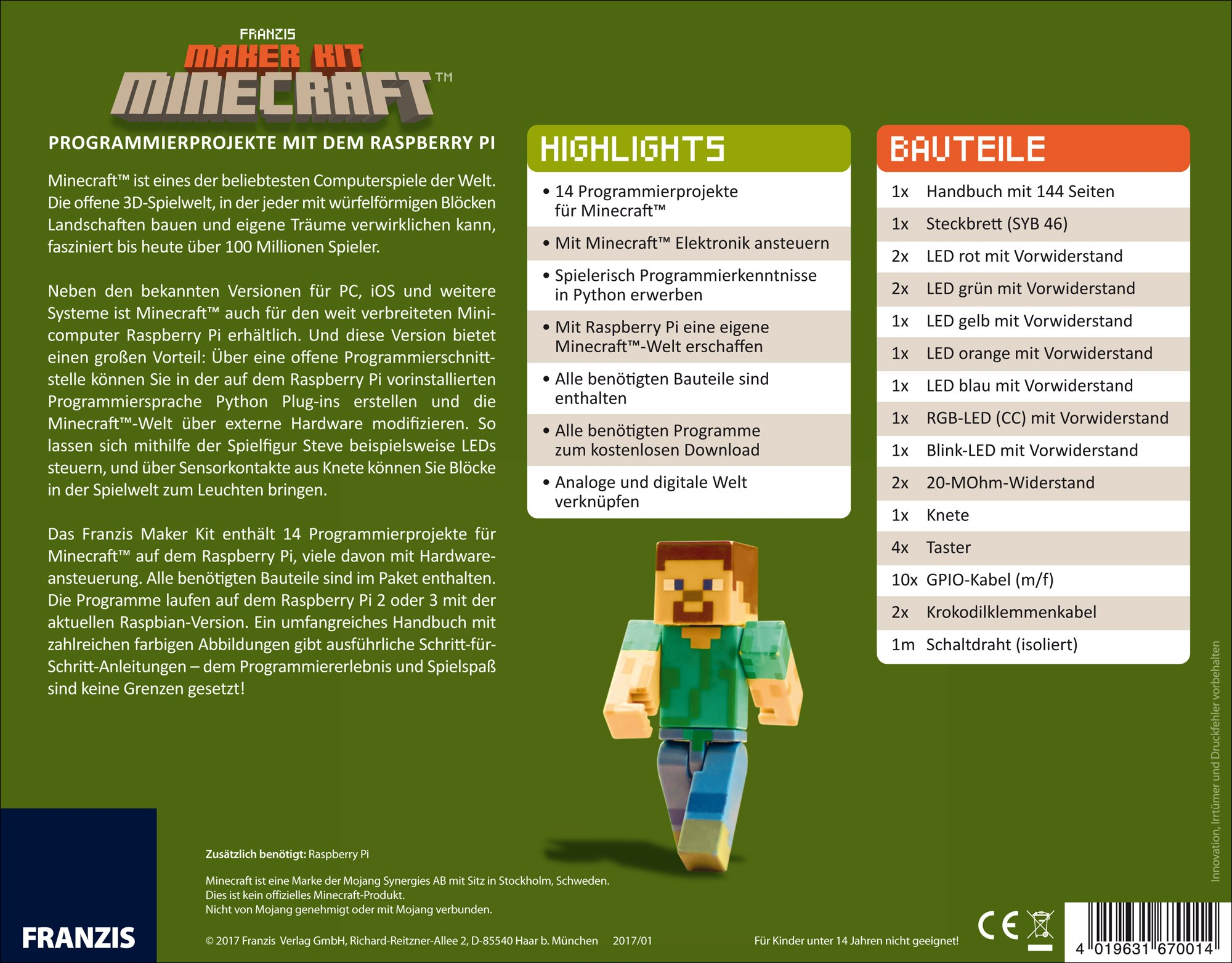 FRANZIS Maker Kit Minecraft | Programmierprojekte mit dem Raspberry ...