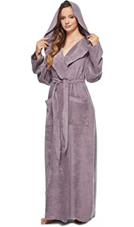 ae7076392a Arus Womens Princess Robe Ankle Long Hooded Silky Light Turkish Cotton  Bathrobe