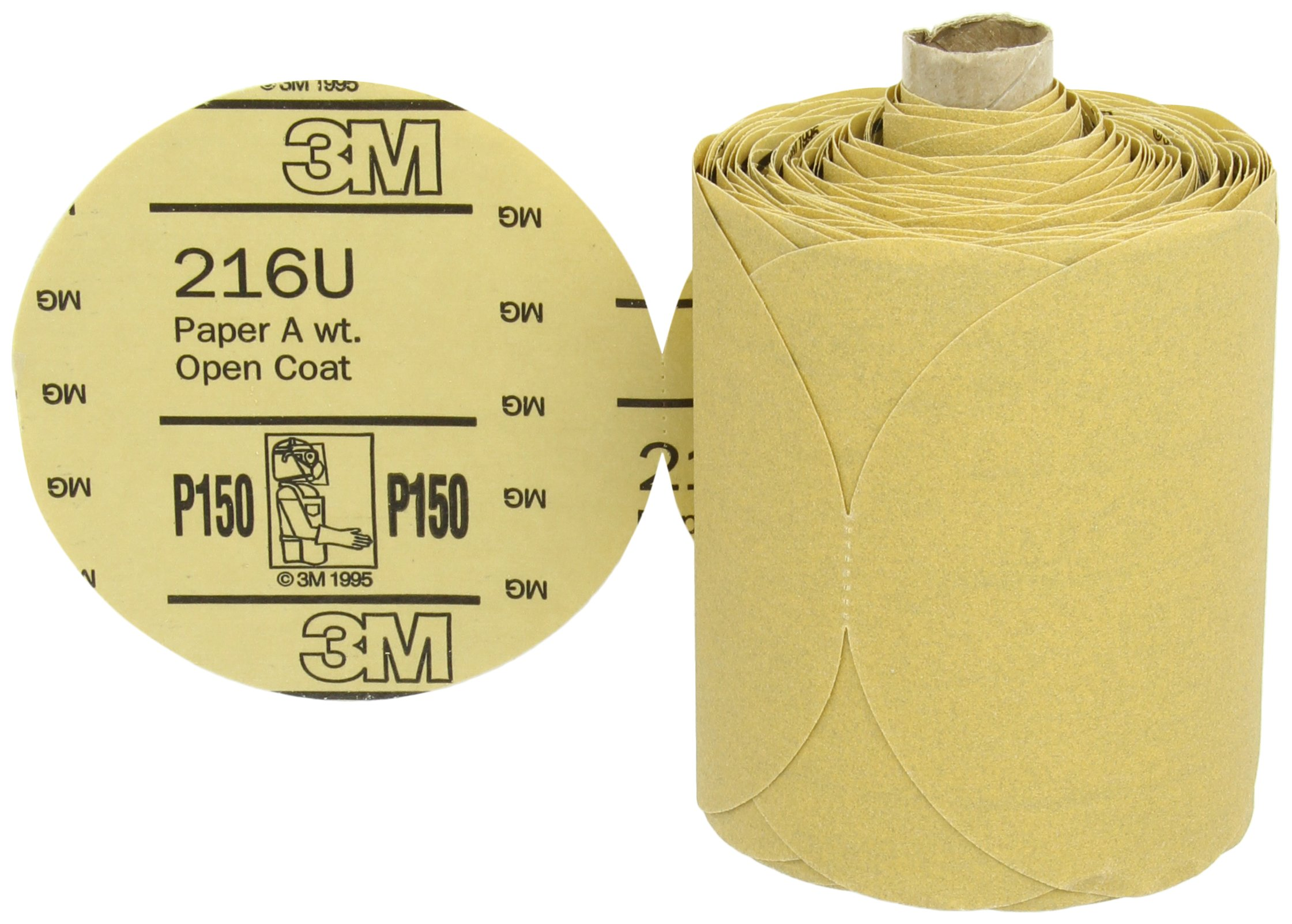 3M Stikit Gold Paper Disc Roll 216U, PSA Attachment, Aluminum Oxide, 5'' Diameter, P150 Grit (Roll of 175) by Cubitron