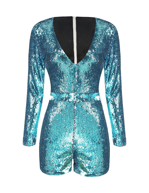 8d06f35ce07b Amazon.com  IRISIE Women Long Sleeve V Neck Sequin Bodycon Party Romper  Jumpsuit  Clothing