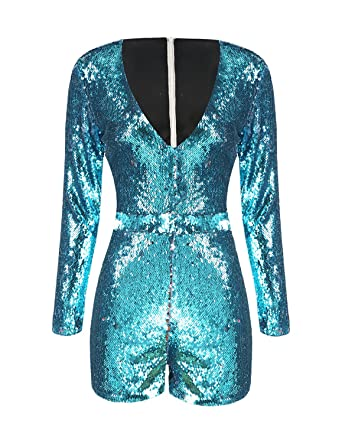66a32b16c5 IRISIE Women Long Sleeve V Neck Sequin Bodycon Party Romper Jumpsuit  (Small