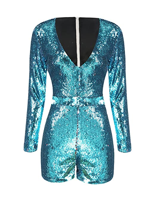 Vintage Rompers, Playsuits | Retro, Pin Up, Rockabilly Playsuits ASMAX HaoDuoYi Womens Mardi Grass Sparkly Sequin V Neck Party Clubwear Romper Jumpsuit $28.87 AT vintagedancer.com