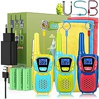 Topsung Walkie Talkie Niños Recargable USB Bateria 3 Piezas, Anticaídas Walkie Talkie Adultos Niña Chico Chicas 3 5 6 8…