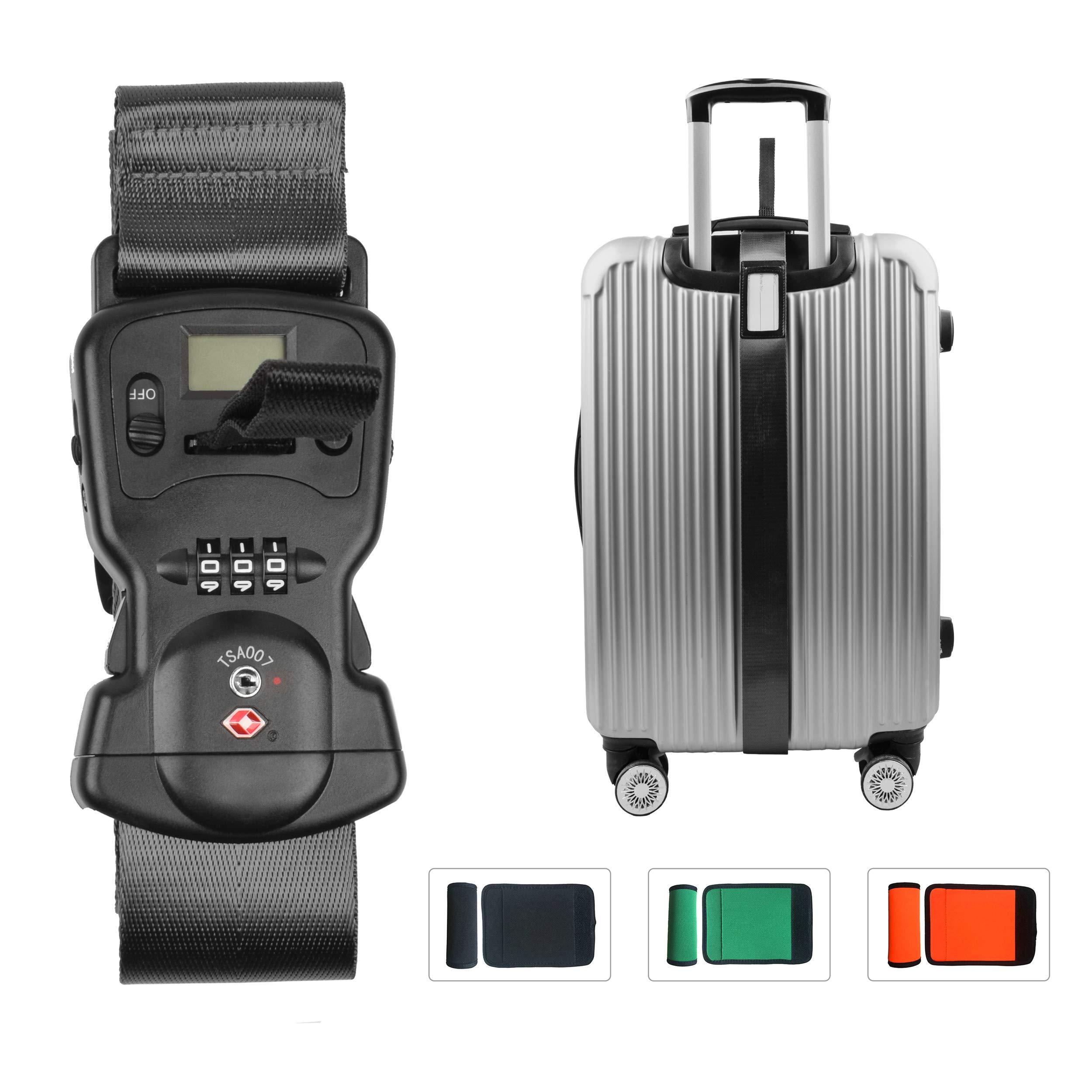 Smaior Luggage Scale Luggage Straps Tsa Luggage Locks 3 in 1 Travel Accessories (Black)