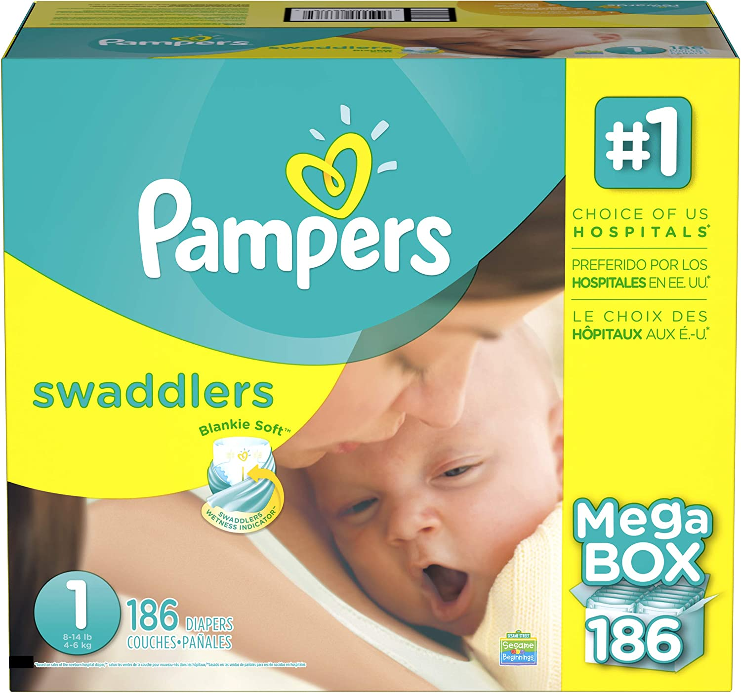 Pampers Swaddlers Diapers (Size 1, 192 Count)