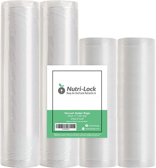"Nutri-Lock Vacuum Sealer Bags. 4 Rolls 11""x25' and 8""x25' Commercial Grade Bag Rolls. Works with FoodSaver and Sous Vide. Fits Inside Sealer Machine."