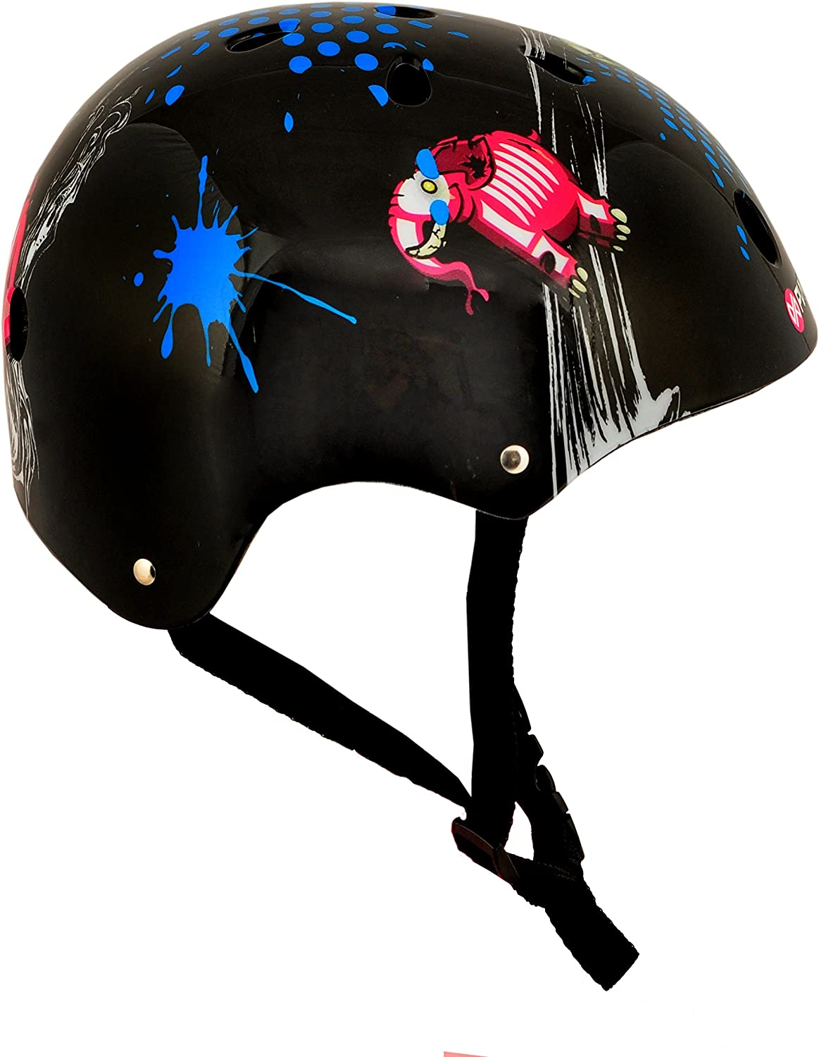Punisher Skateboards 11-Vent Multi-Sport Skateboard and BMX Helmet Includes Extra Helmet Pads Youth Size Medium Boys and Girls Assorted Styles