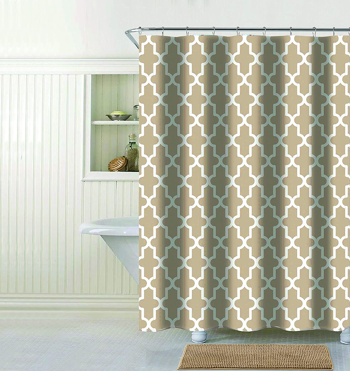 Amazon Evolive Faux Linen Textured Single Shower Curtain Trellis Grey Home Kitchen