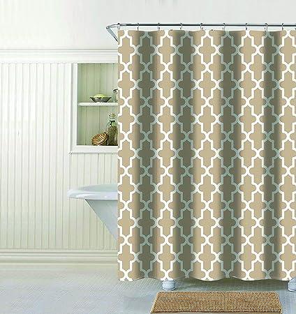 Evolive Faux Linen Textured Single Shower Curtain Trellis Taupe