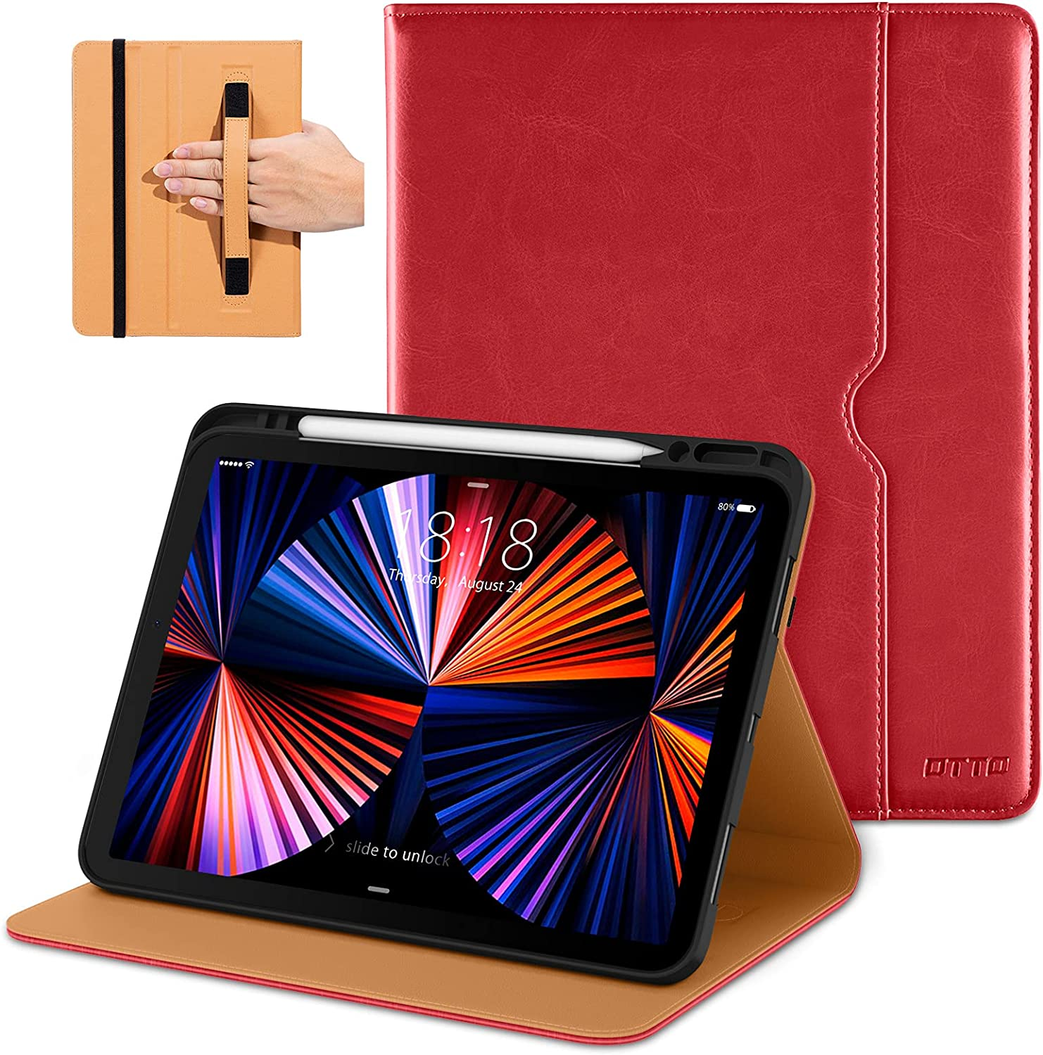 DTTO Compatible with iPad Pro 12.9 Case 2021, Multiple Viewing Angles Cover [Supports Pencil 2nd Gen Charging] with Pencil Holder - Auto Wake/Sleep for iPad Pro 12.9 Inch 5th Generation, Red