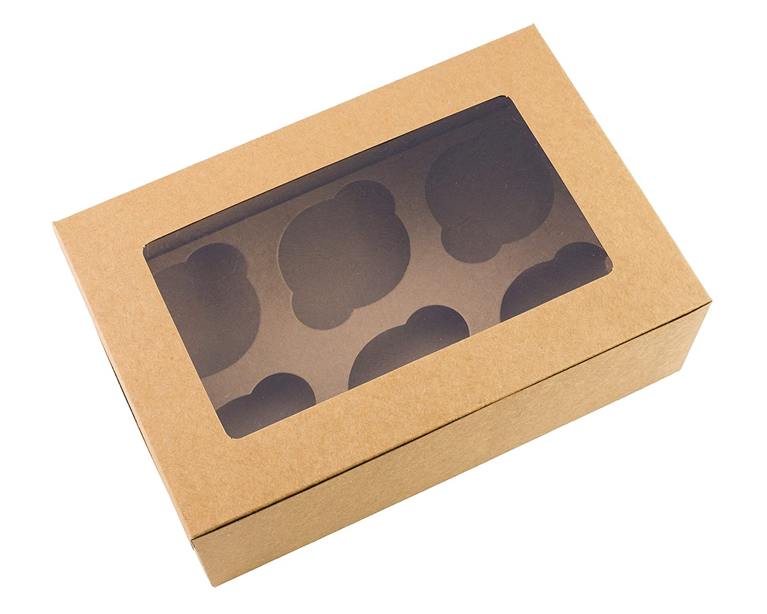 10 x Cupcake Boxes Brown Holds 6 Cakes Ibex Retail