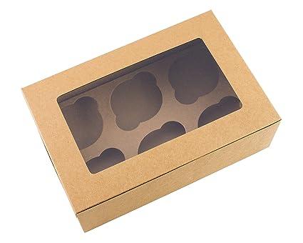 Cajas de color marrón para magdalenas, capacidad para 6pasteles (10