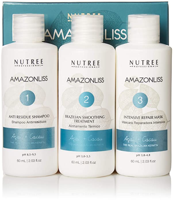 Amazonliss Keratin Smoothing Treatment Hair Straightening - Natural Ingredients - Smooths, Strengthens, Softens, Moisturizers, Adds Shine, Reduces Frizz (2.03 fl. oz set)