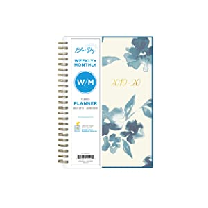 "Blue Sky 2019-2020 Academic Year Weekly & Monthly Planner, Flexible Cover, Twin-Wire Binding, 5"" x 8"", Bakah Blue"