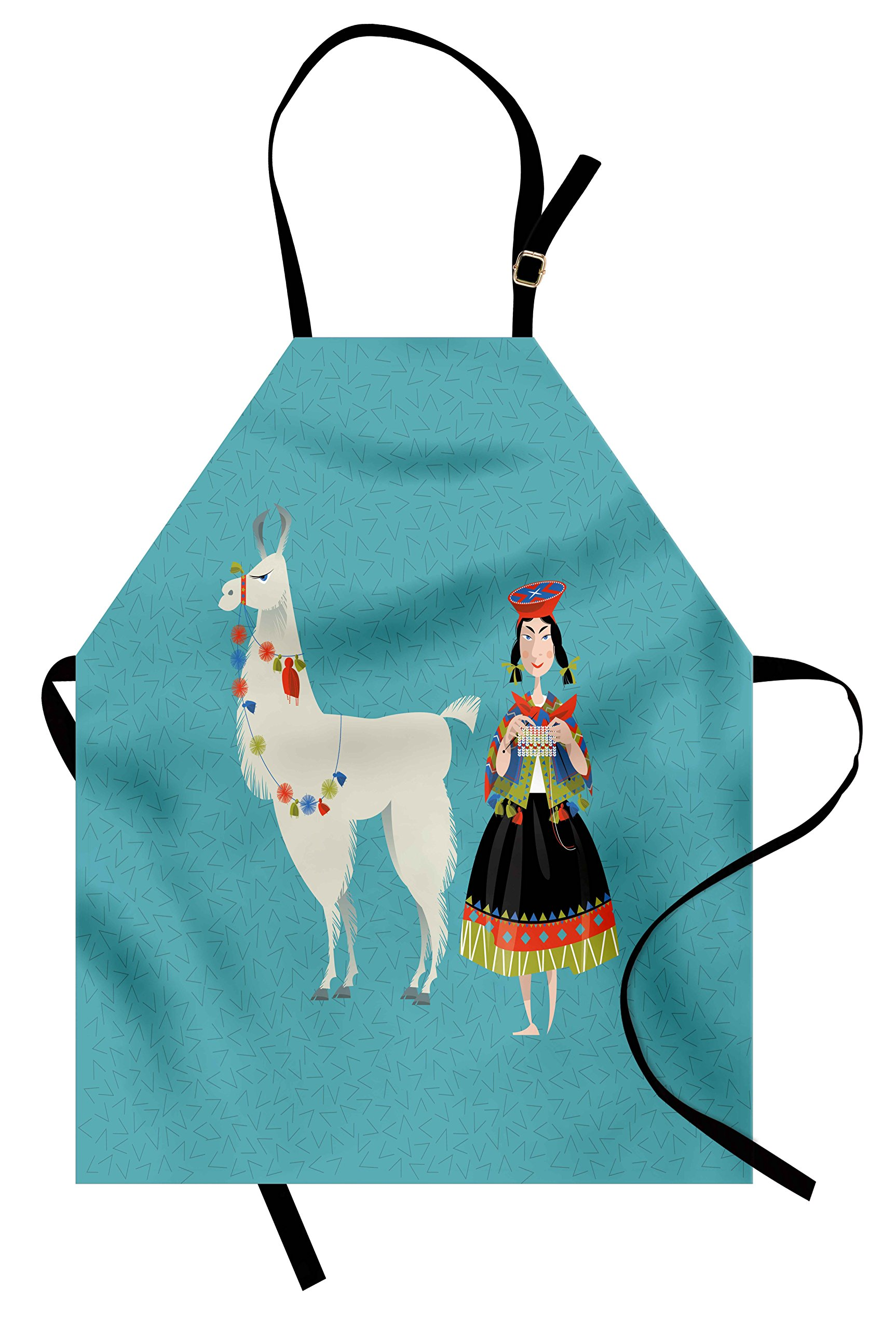 Ambesonne Llama Apron, Peruvian Woman Knitting with a White Alpaca Wrapped with Flower Colorful Illustration, Unisex Kitchen Bib Apron with Adjustable Neck for Cooking Baking Gardening, Multicolor