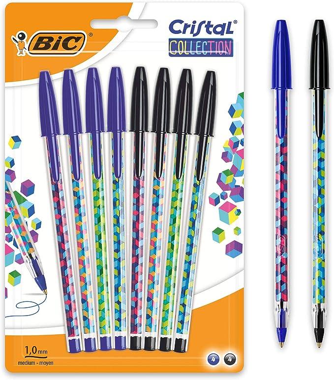 BIC Cristal Collection Stylos- Bolas de punta media (1,0 mm), color negro y azul: Amazon.es: Oficina y papelería