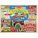 Melissa & Doug Wooden Town Blocks Play Set With Storage Tray (35 pcs)