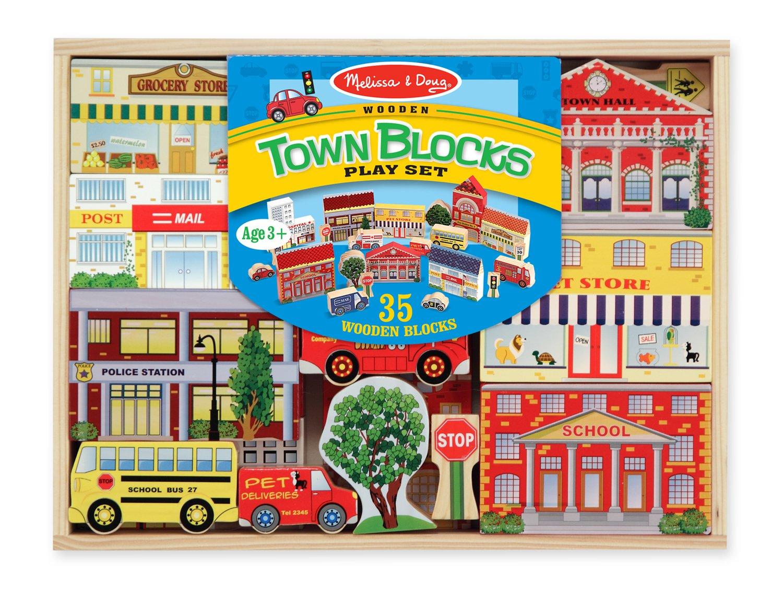 35 pcs Melissa /& Doug Wooden Town Blocks Play Set With Storage Tray 533
