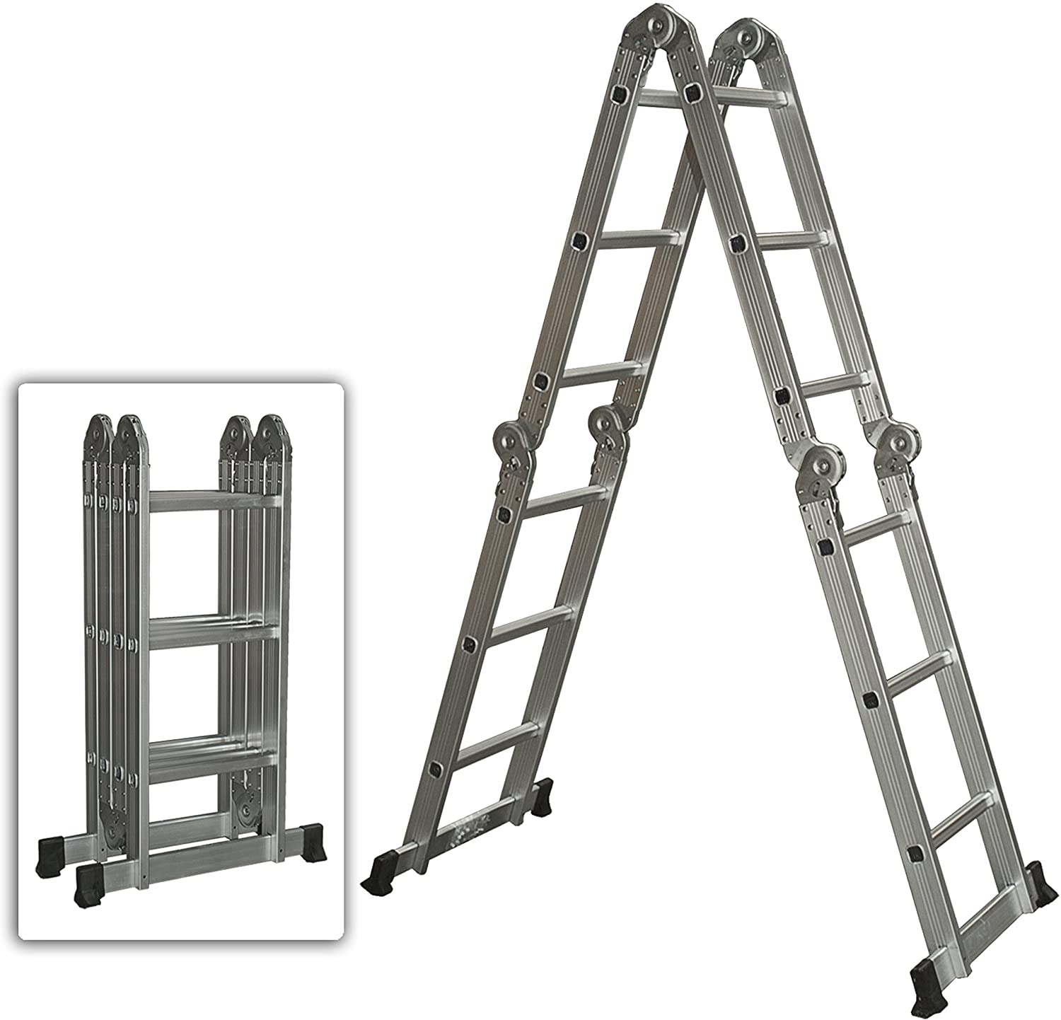 Best Choice Products Multi Purpose Aluminum Ladder Folding Step Ladder Extendable Heavy Duty - Extension Ladders - Amazon.com