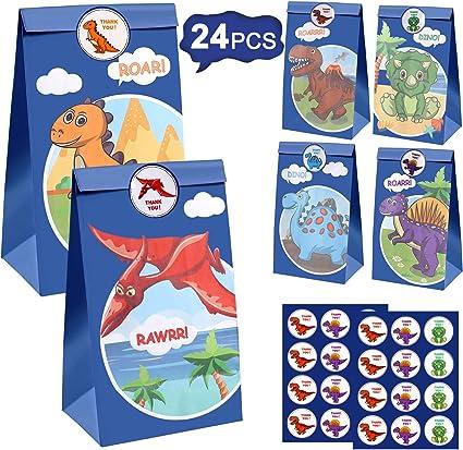 Amazon.com: 24 bolsas de regalo de dinosaurio para fiestas ...