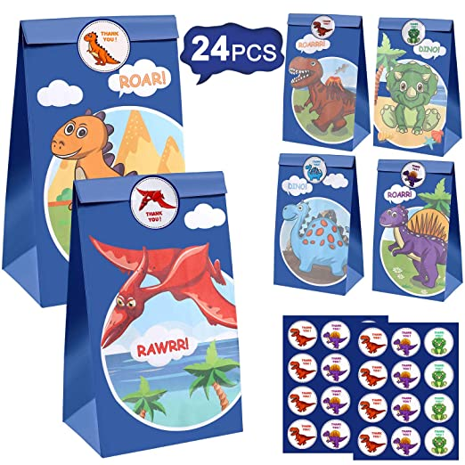 24 Pcs Dinosaur Party Bags Gift Bags Dinosaur Goodie Bags Candy Treat Bags Dino Kids Birthday T-Rex Roar Party Favor Supplies Including Dinosaur ...