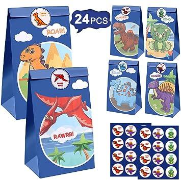 Tacobear 24Piezas Bolsa Regalo Dinosaurio Bolsas de Papel Bolsa Dulces Dinosaurio Bolsas de Fiesta para Niños Dinosaurio Fiesta Artículos para ...