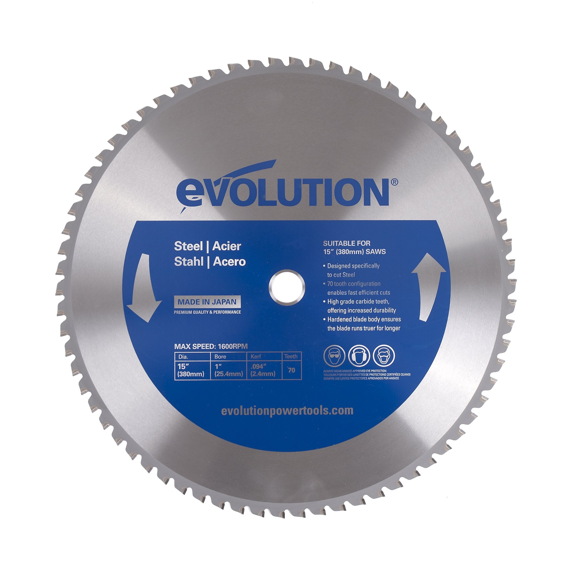 Evolution Power Tools 15BLADEST Steel Cutting Saw Blade, 15-Inch x 70-Tooth by Evolution Power Tools (Image #1)