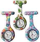 3 x Silicone Gel Nurses Fob Watch (Washable, Infection Free) Set - Round Bubble/Bug / Swirl
