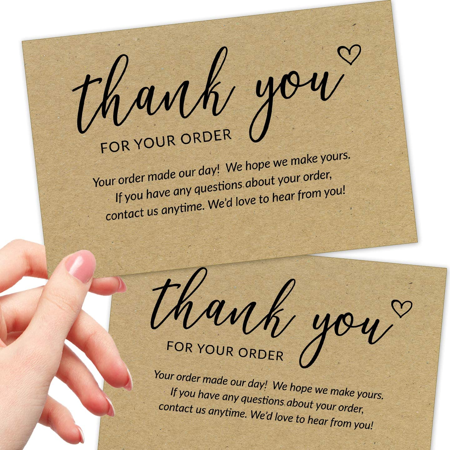 50 Large 4x6 Thank You For Your Order Cards - Bulk Kraft Postcards Purchase Inserts to Support Small Business Customer Shopping - for Online or Retail Stores, Handmade Goods and More
