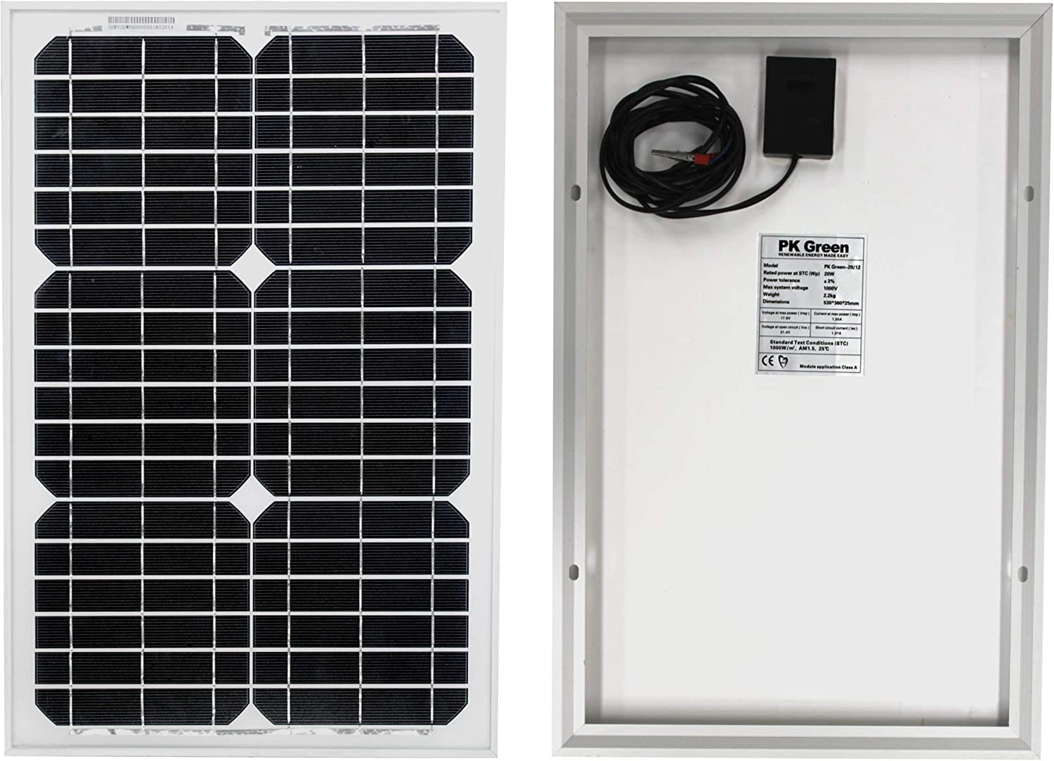 PK Green 20W Solar Panel Kit and Cable for 12V Battery, Caravan, Boat, Shed, Car, Motorhome, Camping, Off Grid