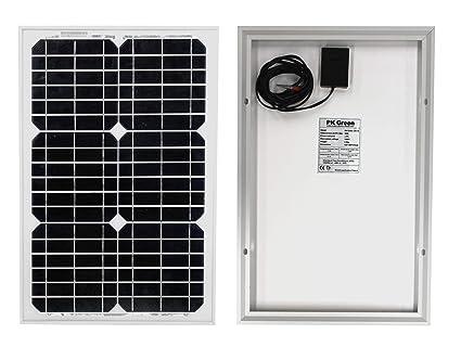 PK Green Panel Solar 12V 20W para Camping, Cargar Baterías 12V, Caravanas, Coche - Panel Solar Portátil Monocristalino
