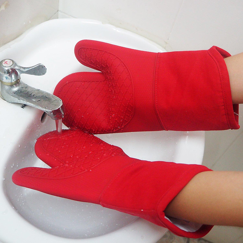 Deta Kitchen Paire de gants de cuisine en silicone matelass/é avec doublure en coton Pour four grill micro-ondes Lavable en machine cuisson barbecue cuisine