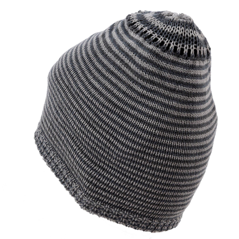 R Uomo Berretto in maglia reversibile largo invernale Cappello X085 nero SODIAL