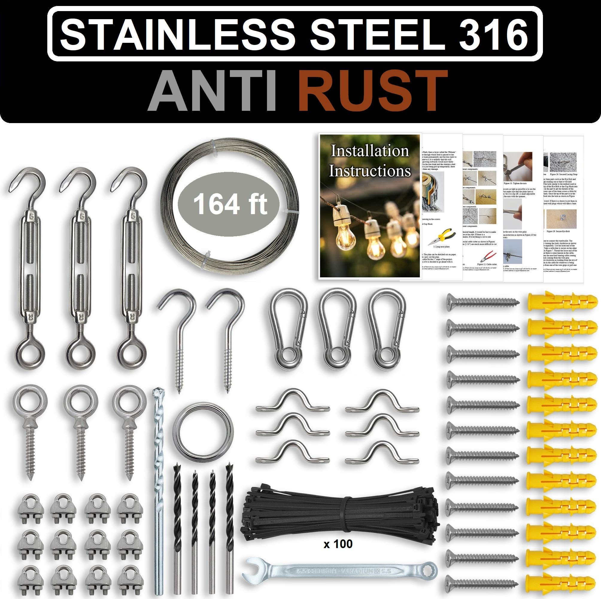 String Light Hanging Kit - Stainless Steel 316 Hardware for String Light Suspension, Outdoor Lighting, Laterns, Globes Etc. Guide Wire Rope with Turnbuckles & Hooks. 164Ft Cable
