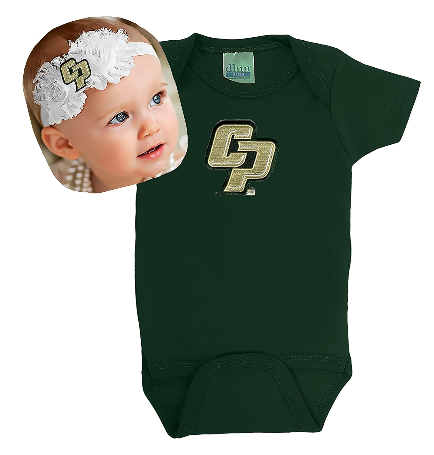 Cal Poly Mustangs Baby Onesie And Shabby弓ヘッドバンドギフトセット 6 Months  B017Q1T6GO