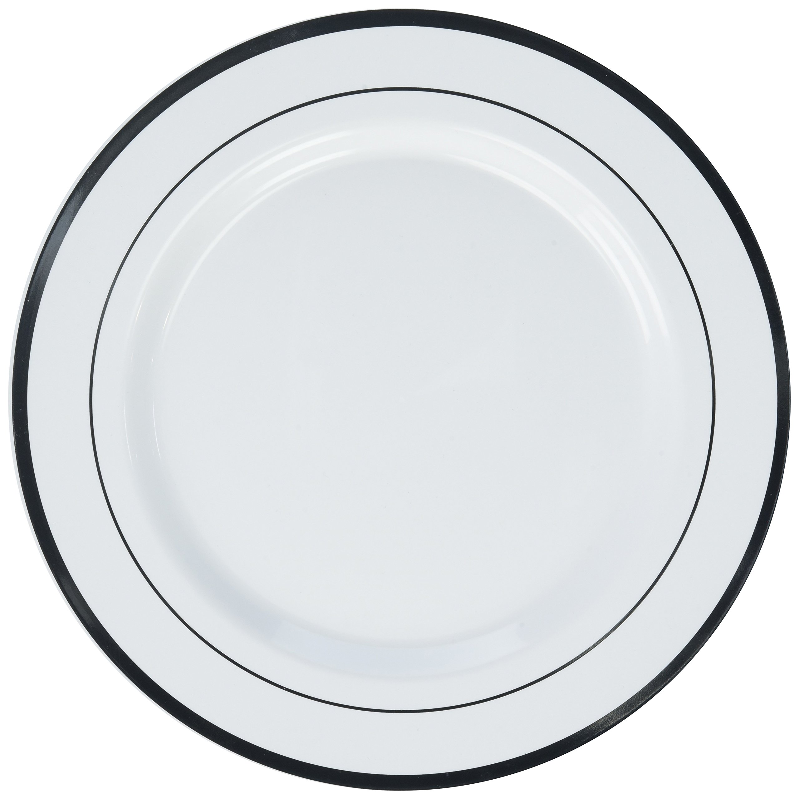 Amscan Elegant Premium Plastic Round & Reusable Dishware White with Silver Trim Pack 10 Party Supplies , 60 Pieces by Amscan
