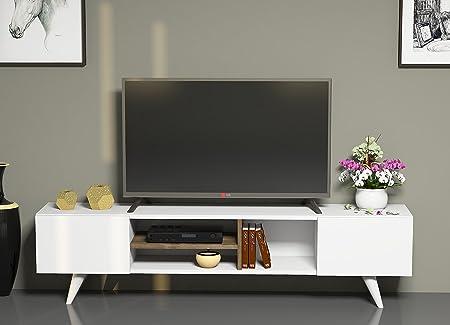 DORE Mueble salón comedor para televisión con 2 puerta y estante - Blanco / Nogal - Mueble bajo para televisor - Mesa de Televisión en diseño elegante: Amazon.es: Hogar