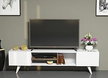 Dore set soggiorno bianco noce mobile tv parete attrezzata