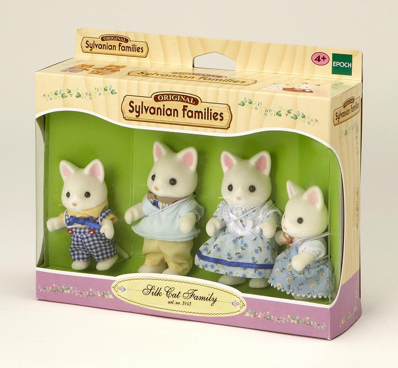 SYLVANIAN FAMILIES- Silk Cat Family Mini muñecas y Accesorios, (Epoch para Imaginar 4175)