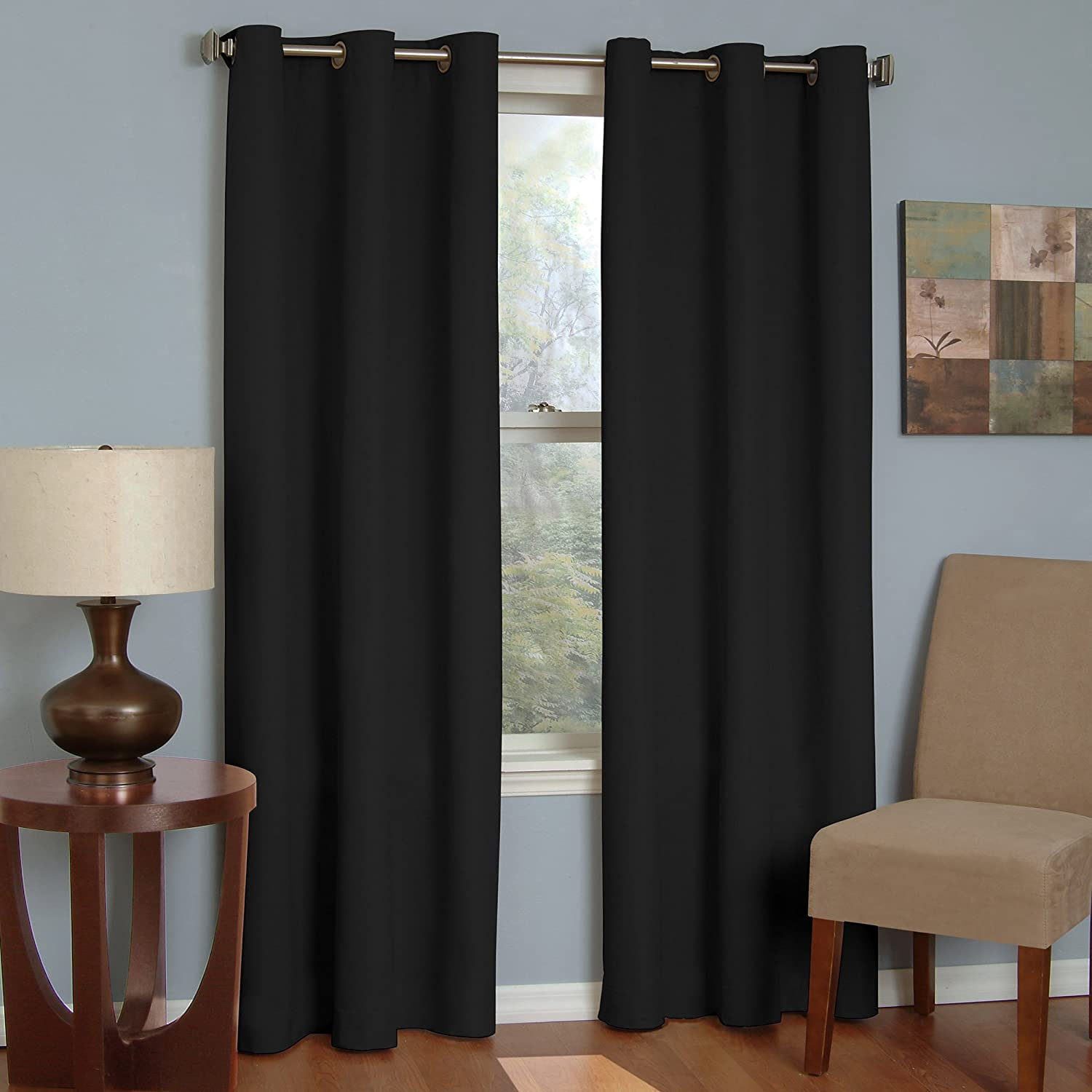 Beige sheetsnthings Soho Solid 42-Inch Wide x 63-Inch Long Thermal Insulated Blackout Grommet Top Tie-Up Shade for Small Window