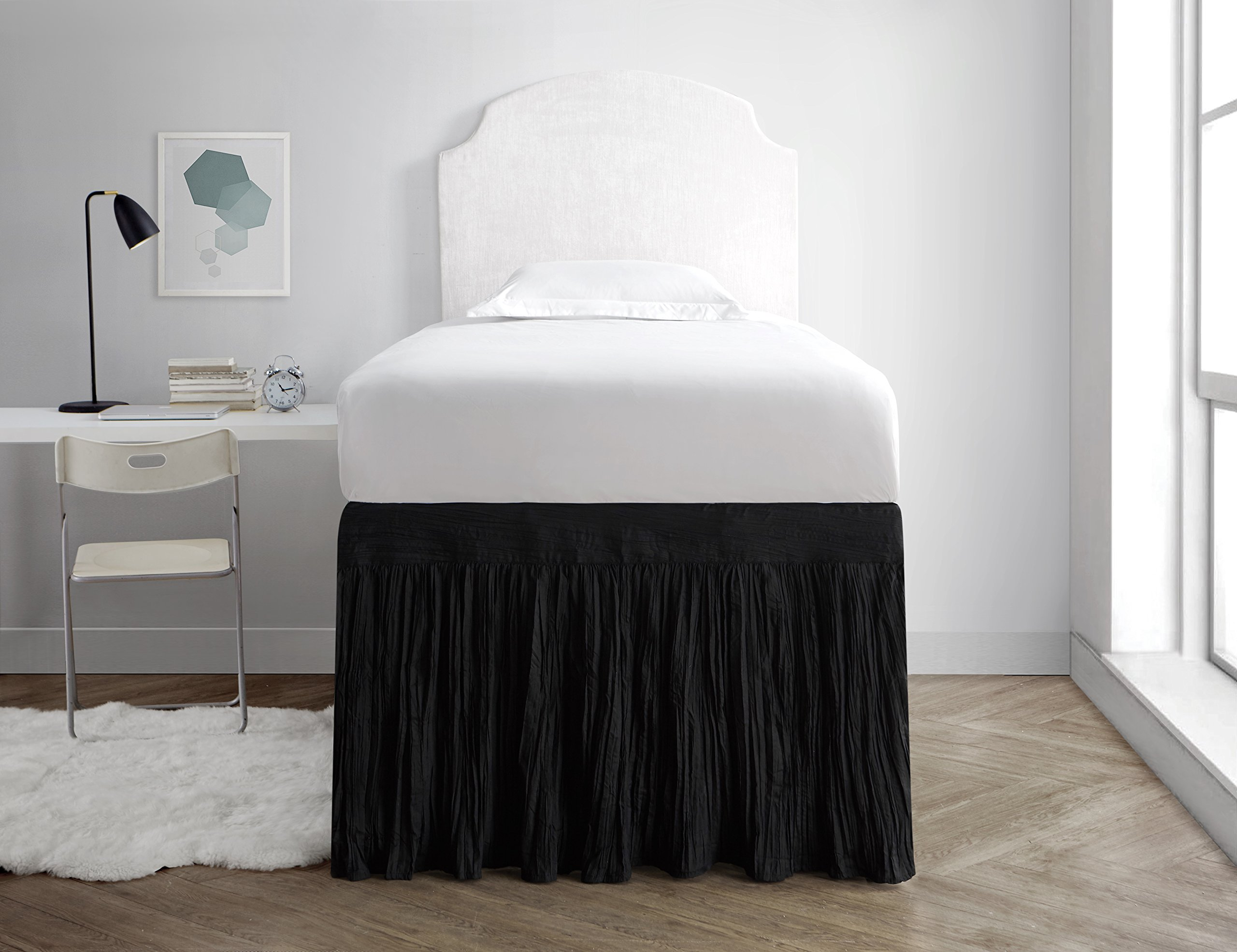 Crinkle Dorm Sized Bed Skirt Panel with Ties (1 Panel) - Black