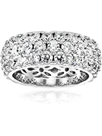 Platinum-Plated Sterling Silver Swarovski Zirconia Three-Row Pave Round Cut Ring
