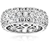Amazon Price History for:Platinum or Gold-Plated Sterling Silver Swarovski Zirconia Three-Row Eternity Ring