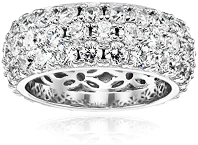 e397396dd Amazon.com: Platinum or Gold Plated 3-Row Round-Cut Pave Band Ring set with Swarovski  Zirconia: Jewelry